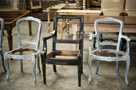 Chairs In The Process Of Being Built And Paintedu2026