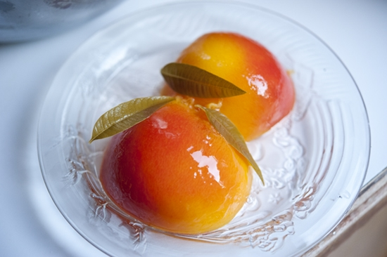 """Lemon Verbena Poached Peaches"""