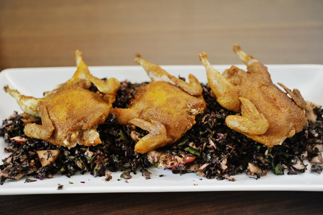Spicy Seared Quail with Kale Slaw