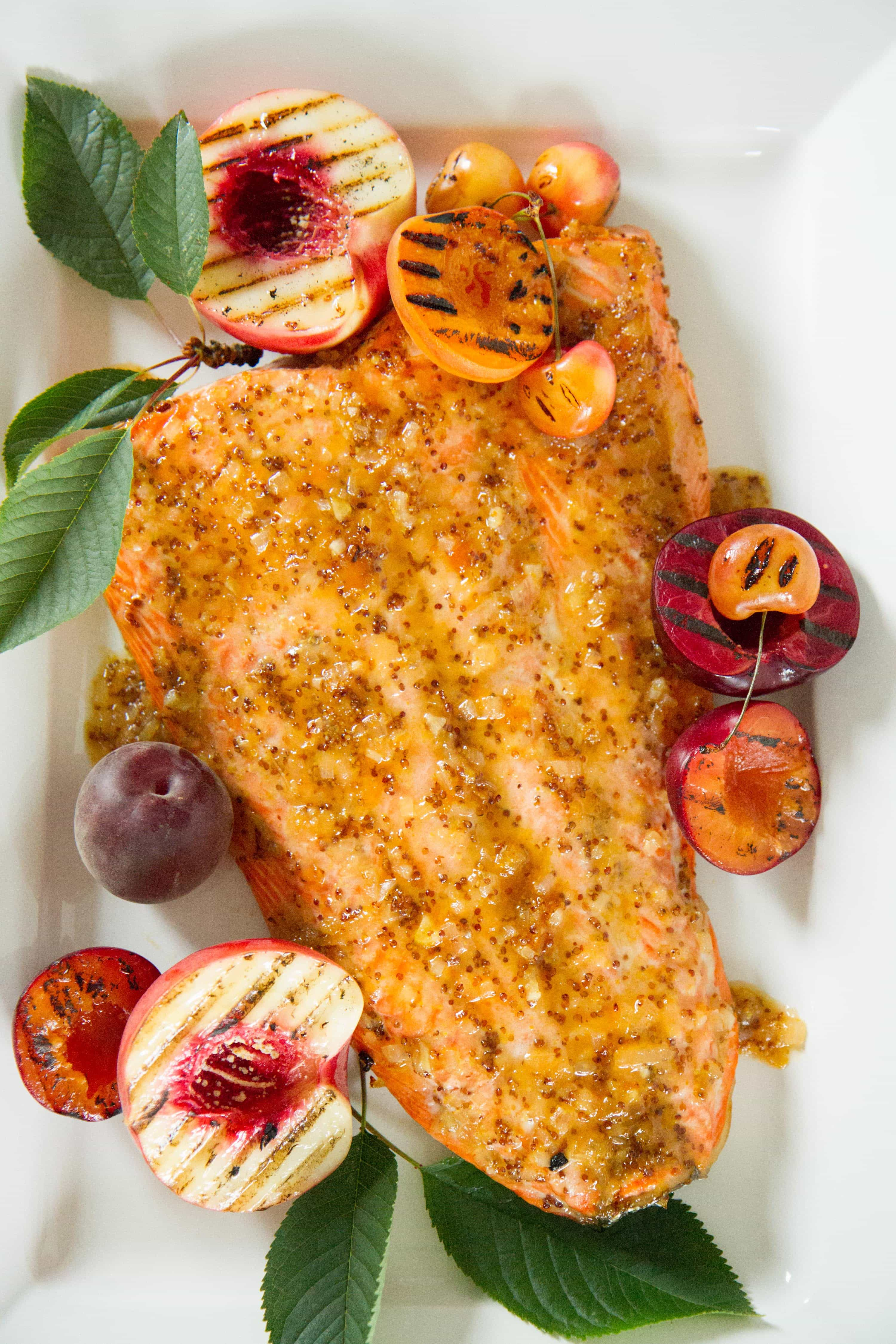 """Grilled Wild Salmon with Apricot Mustard"""