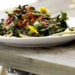 Dandelion Green Salad with Pancetta and Pistachios