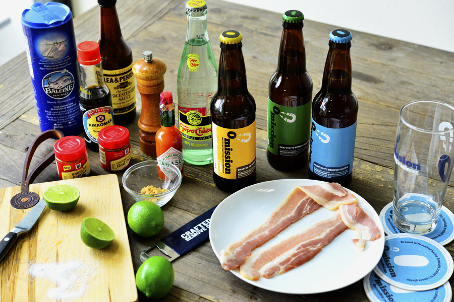 Omission Beer Michelada with Candied Beer Bacon