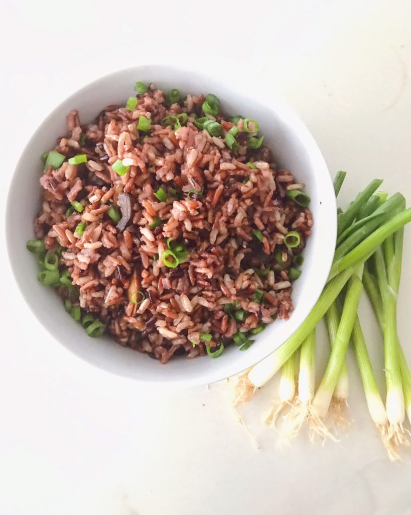 """Heirloom Rice with Balsamic Mushrooms + Scallions"""