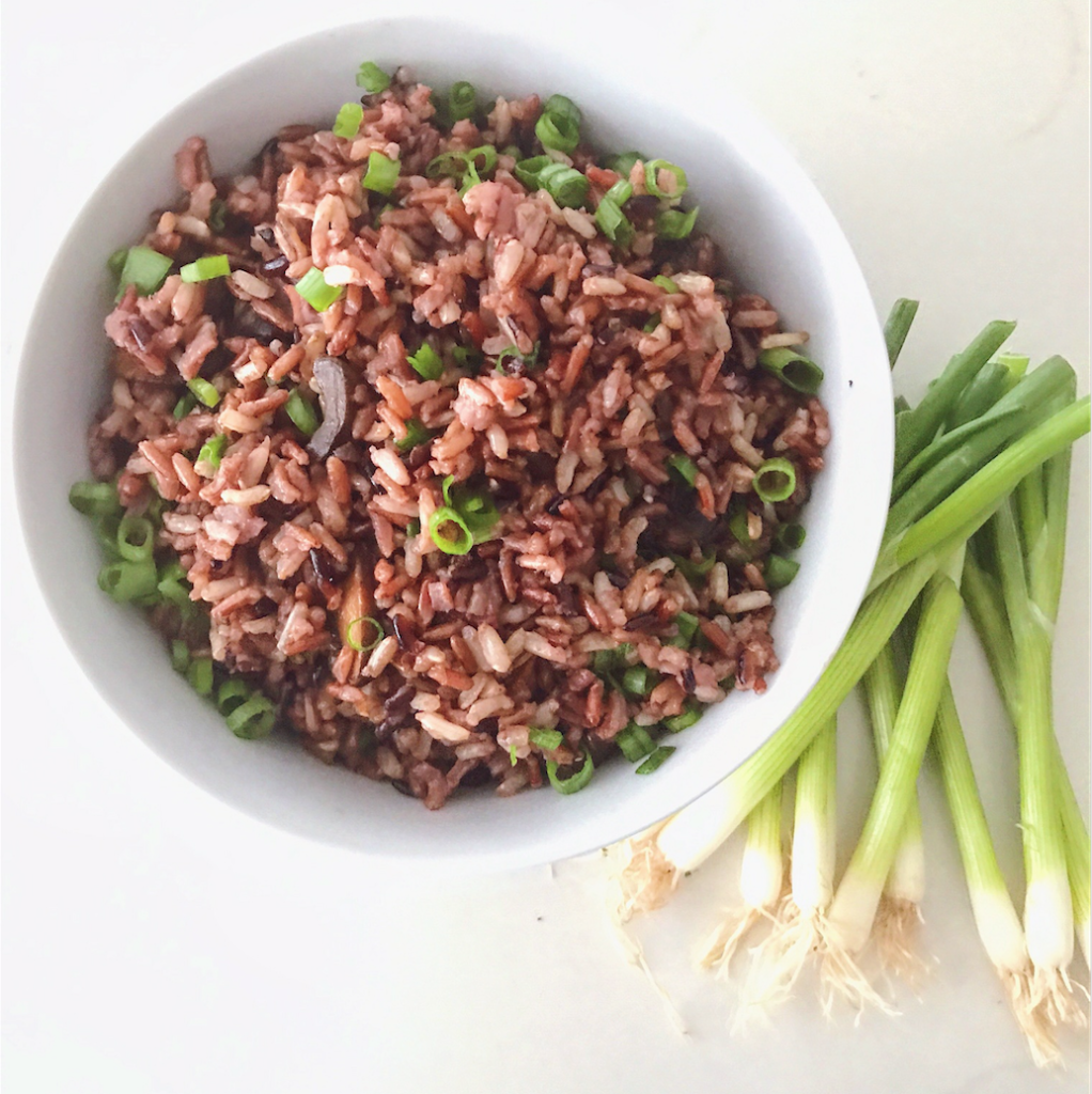 Heirloom Rice with Balsamic Mushrooms + Scallions
