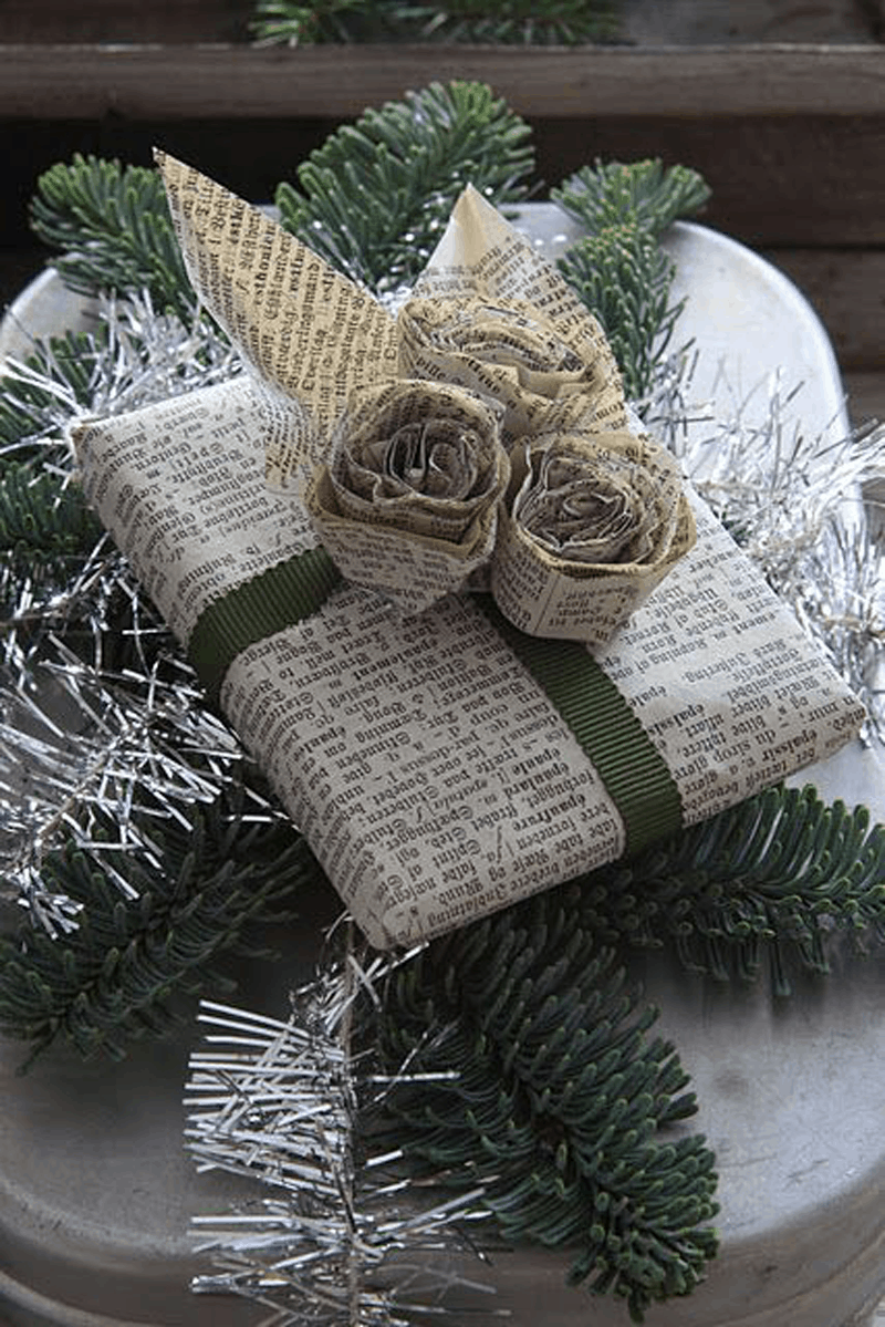 DIY Newsprint Wrapping Paper