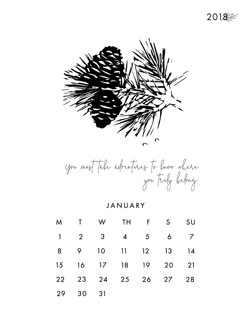 January Printable Desk Calendar