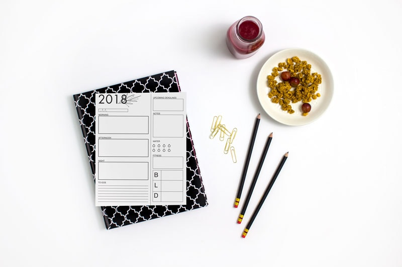 Printable Fitness + Food Agenda