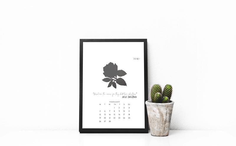February Printable Desk Calendar