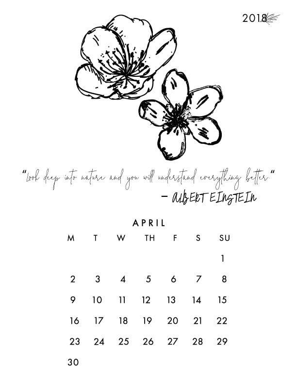 Printable April Desk Calendar