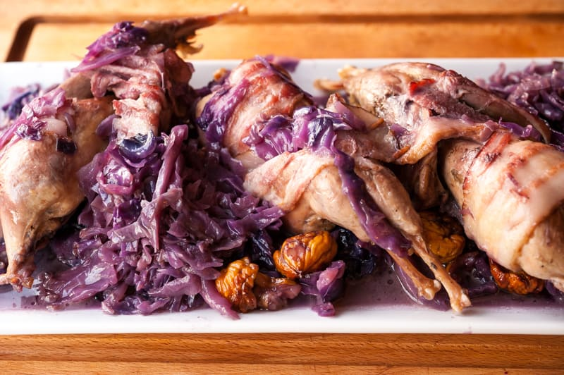 Chucker with cabbage and grapes
