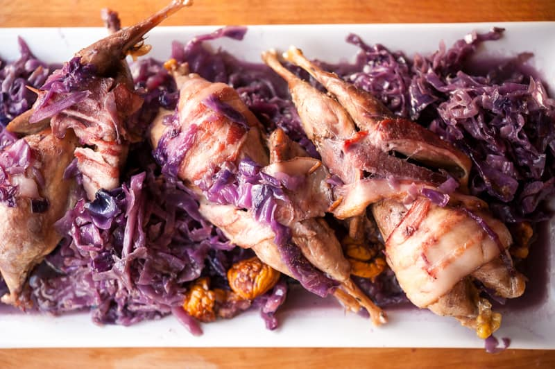 Chukar with Cabbage and Chestnuts