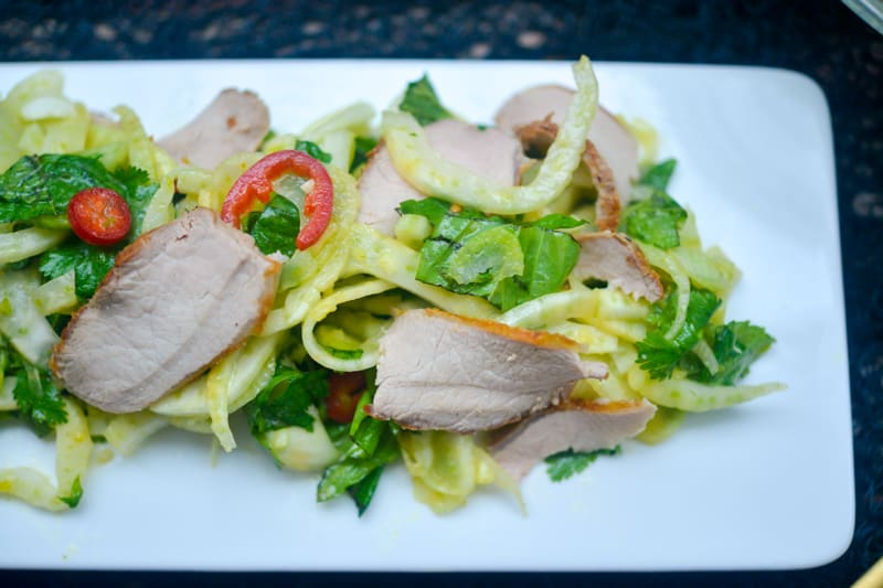 Honey Orange Wild Boar with Fennel Herb Salad